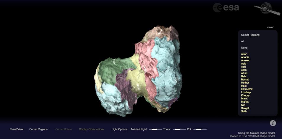 Je kunt onder meer de verschillende regio's op de komeet zichtbaar maken. Afbeelding: ESA.