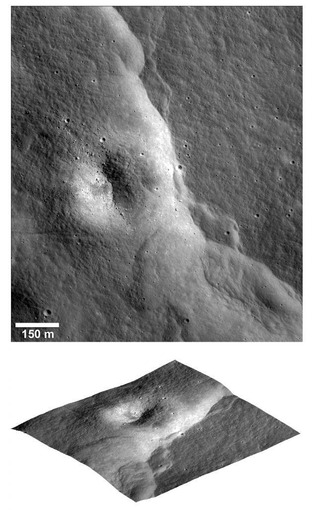 Voorbeeld van een breuk op de maan.