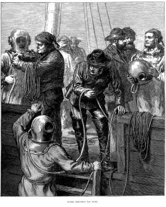 Duikers zijn op zoek naar goud. Dit is de voorpagina van The Illustrated London News (6 februari 1873).