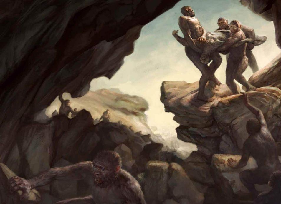 Hebben de onderzoekers een grafkamer gevonden? Een begrafenis zou er zo uit hebben gezien. Artistieke impressie gemaakt door Jon Foster.