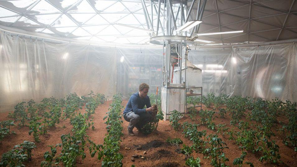 Watney (Matt Damon) heeft een eigen moestuin op Mars.