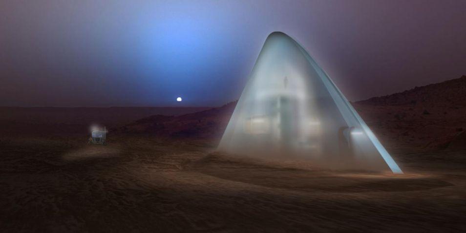 Op het eerste oog lijkt deze constructie een bevroren berg op Mars, maar het is toch echt een woning. Team SEArch maakt slim gebruik van de aanwezigheid van water en de koude temperaturen op Mars. De buitenste laag van dit ICE HOUSE bestaat uit bevroren water, dat de astronauten beschermt tegen straling. Binnen is het lekker warm.
