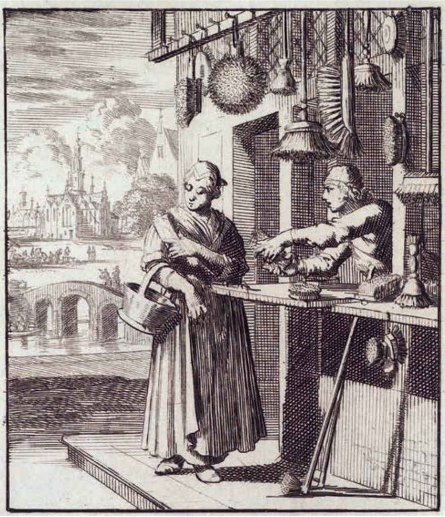 Uitgestalde winkelwaar op een prent van Jan en Caspar Luiken, 'De schuyermaaker' (1694). De verkoper reikt door het open venster om zijn klanten te bedienen.
