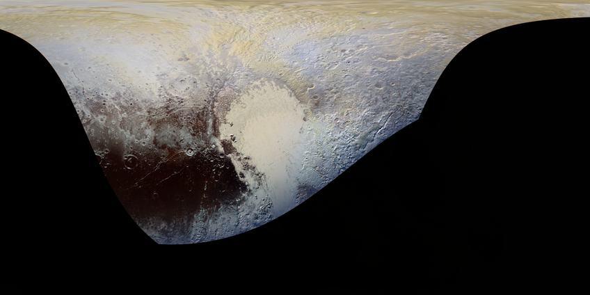 De meest gedetailleerde kaart (in kleur) die tot op heden van Pluto is gemaakt. Klik voor een vergroting. Afbeelding: NASA / JHUAPL / SWRI.