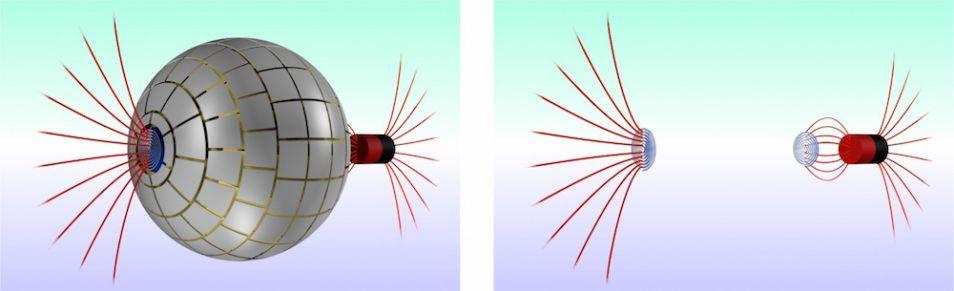 Het wormgat dat de onderzoekers gecreëerd hebben, is eigenlijk een soort bolvormige 'onzichtbaarheidsmantel' waardoor het magnetische veld van a naar b reist. Afbeelding: Ordi Prat-Camps / Universitat Autònoma de Barcelona.