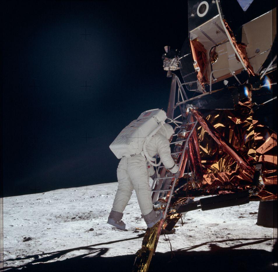 Nog een foto gemaakt tijdens de Apollo 11-missie. Afbeelding: NASA.