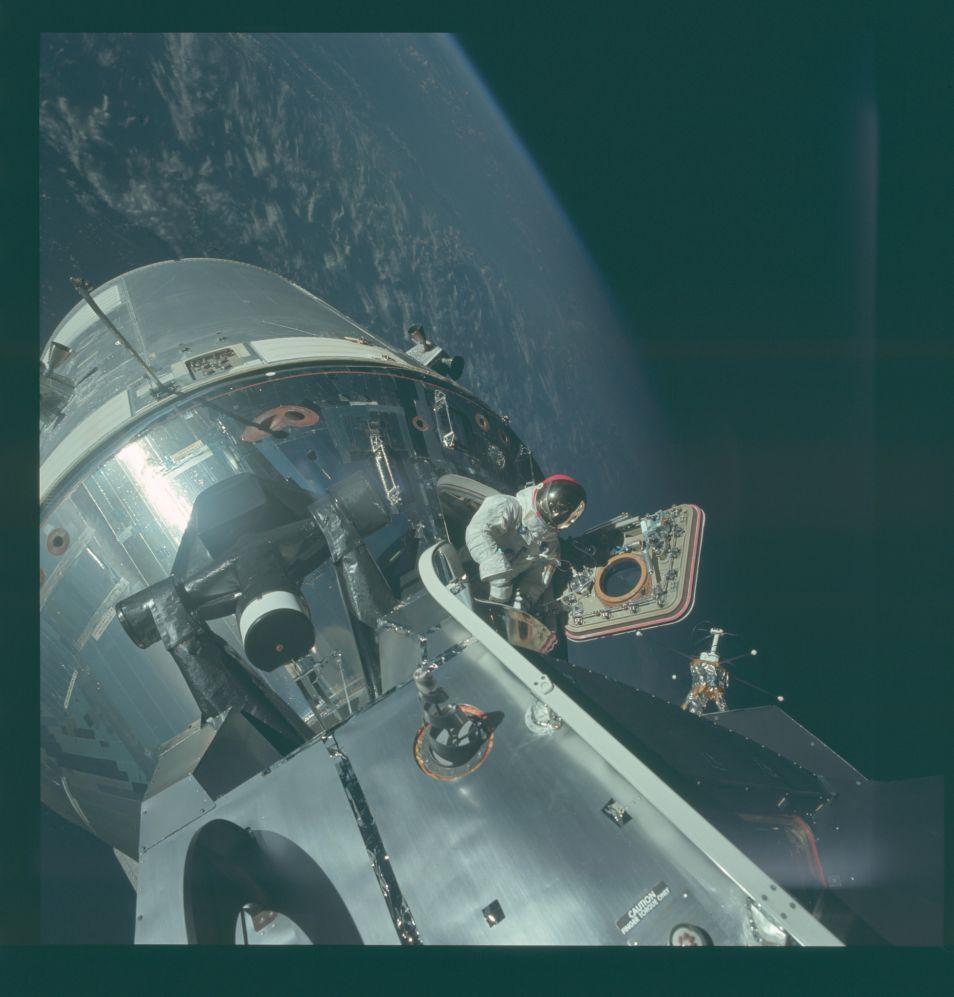 Nog zo'n fantastische foto, gemaakt tijdens de Apollo 9-missie. Dit was een testmissie waarin alle onderdelen van de maanmissie in een baan rond de aarde getest werden. Afbeelding: NASA.