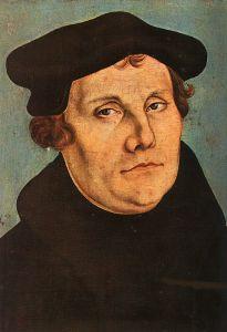 Maarten Luther, geschilderd door Lucas Cranach de Oude in 1529.