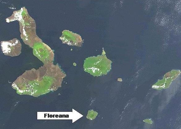De Galapagos-archipel. De pijl wijst Floreana aan. Afbeelding: NASA.