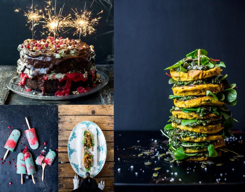 Verschillende gerechten met zeewier. De zeewiertaart en dan (met de klok meer) pannenkoekjes met zeewier, aubergine kaviaar met onder meer zeepeterselie en ijsjes met zeewier.