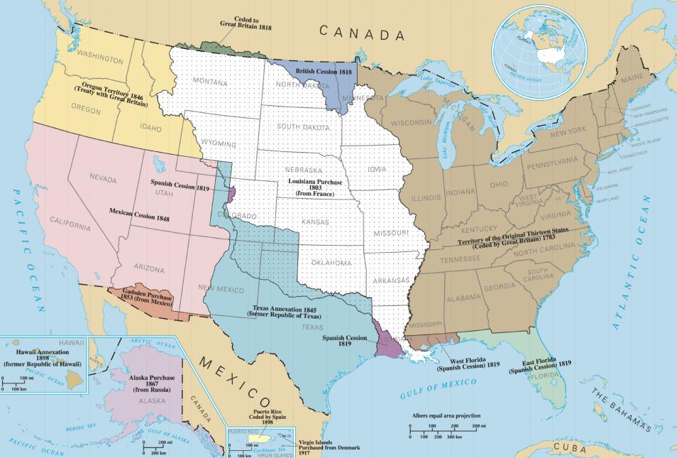 Dit kaartje laat mooi zien welke 'groeispurt' de Verenigde Staten doormaakten. Het bruine gebied rechts laat de oorspronkelijke dertien staten zien. Het witte gebied is het Louisiana Territory dat de VS van de Fransen kocht. Daarmee werd het grondgebied van de Unie bijna verdubbeld. Afbeelding: via Wikimedia Commons.