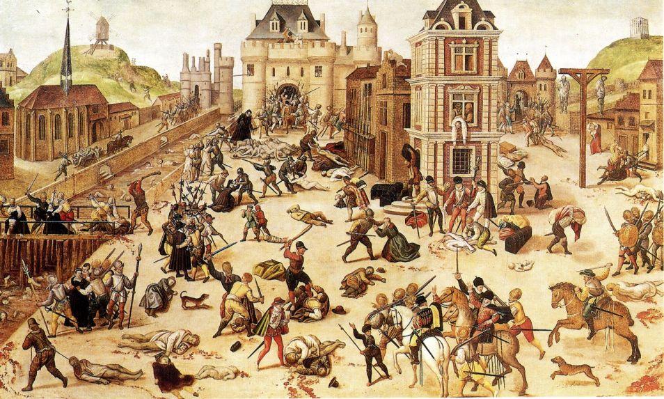Tijdens de Bartholomeusnacht werden hugenoten (Franse protestanten) in Parijs massaal vermoord. En dat was nog maar het begin: in de maanden die volgden, lieten duizenden hugenoten door geweld het leven. Afbeelding: François Dubois.