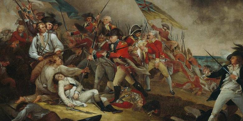 Een schilderij gebaseerd op een slag tijdens de Amerikaanse Onafhankelijkheidsoorlog. Afbeelding: John Trumbull (via Wikimedia Commons).