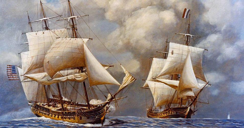 Dit schilderij laat een scène uit de Quasi-oorlog zien. USS Constellation gaat hier de strijd aan met L'Insurgente, de overwinning is uiteindelijk voor de Amerikanen. Afbeelding: John William Schmidt.