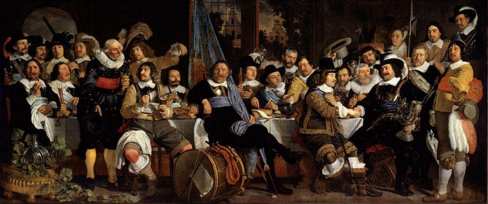De Schuttersmaaltijd, een schilderij van Bartholomeus van der Helst. De mannen op deze schildering vieren de Vrede van Münster, oftewel het einde van de Tachtigjarige Oorlog.