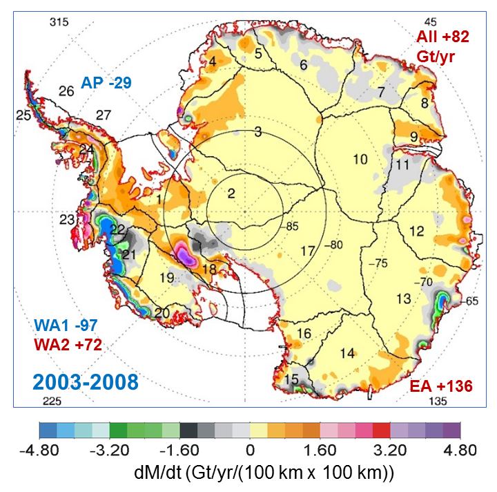 Deze afbeeldingen laat de veranderingen die Antarctica qua massa tussen 2003 en 2008 doormaakte zien. Afbeelding: Jay Zwally / Journal of Glaciology.