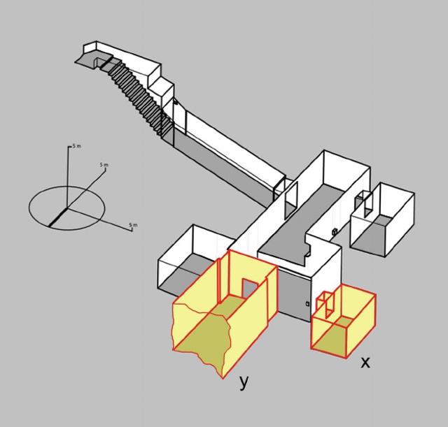 In grijs de kamers in de tombe van Toetanchamon die we tot op heden kennen. De gele kamers zijn de kamers die volgens Reeves nog niet ontdekt zijn. Kamer y is daarbij de vermeende grafkamer. Afbeelding: © Theban Mapping Project.