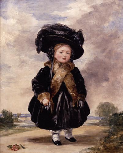 Victoria op vierjarige leeftijd. Een schilderij gemaakt door Stephen Poyntz Denning, via <a href=
