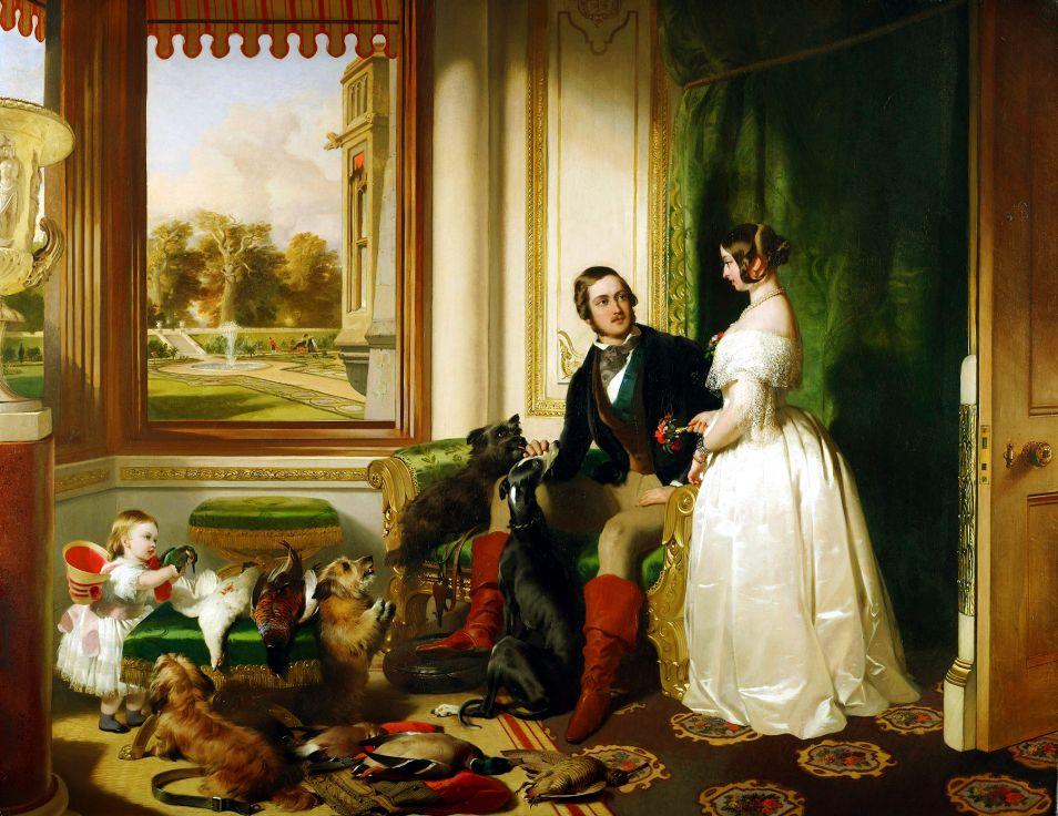 Victoria, Albert en hun eerste kindje: Victoria, kortweg Vicky. Een schilderij van Edwin Landseer, via <a href=