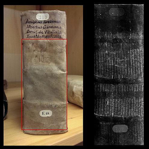 In deze boekband zit een vrij groot tekstfragment uit de dertiende eeuw verstopt. Afbeelding: TU Delft.
