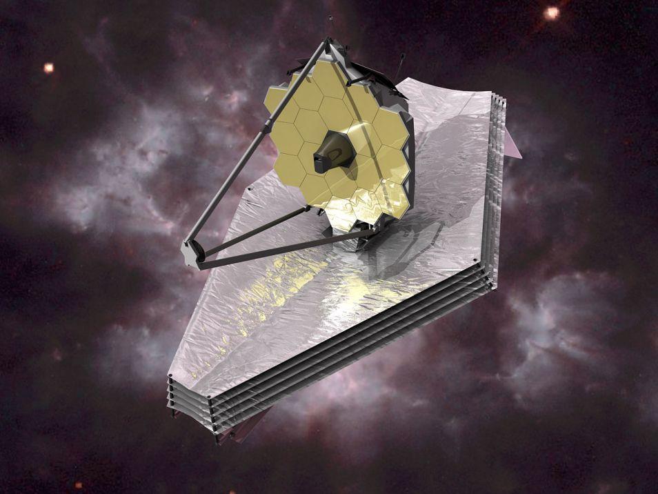 Artistieke impressie van de James Webb-telescoop in de ruimte.