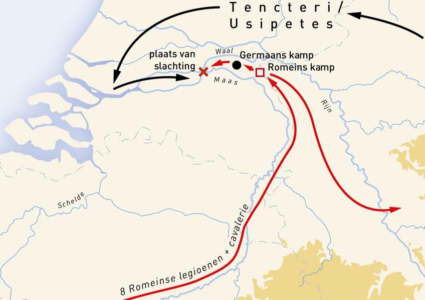 Het kruisje geeft aan waar de massaslachting plaatsvond. Afbeelding: VU.