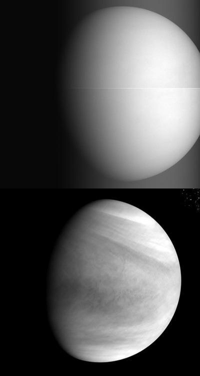 Twee foto's die AKATSUKI in de afgelopen dagen van Venus maakte. Afbeeldingen: JAXA.