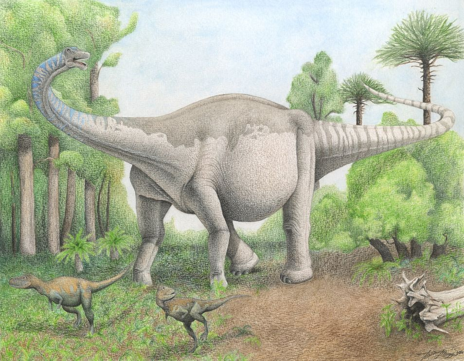Zo moet de nieuw ontdekte dinosaurus er bij leven uit hebben gezien. Afbeelding: Taylor Maggiacomo, Carnegie Museum of Natural History / Carnegie Mellon University.