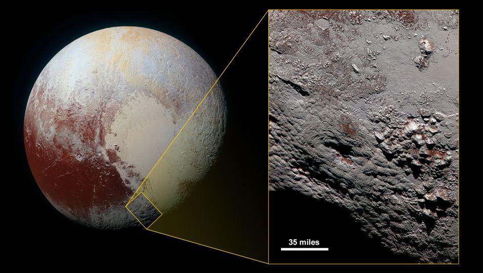 Deze afbeelding laat zien waar op Pluto de ijsvulkaan te vinden is. Afbeelding: NASA / JHUAPL / SwRI