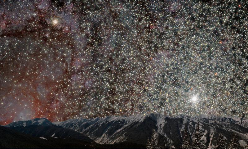 Stel, je staat op het oppervlak van een exoplaneet in een bolvormige sterrenhoop, dan ziet dit er zó uit.