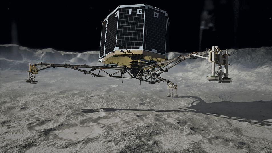Zo had Philae eigenlijk moeten landen. In plaats daarvan kwam de komeetlander in een klif terecht.