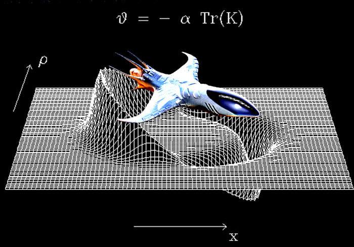 De Alcubierre warpaandrijving in beeld. Afbeelding: Anderson Institute.