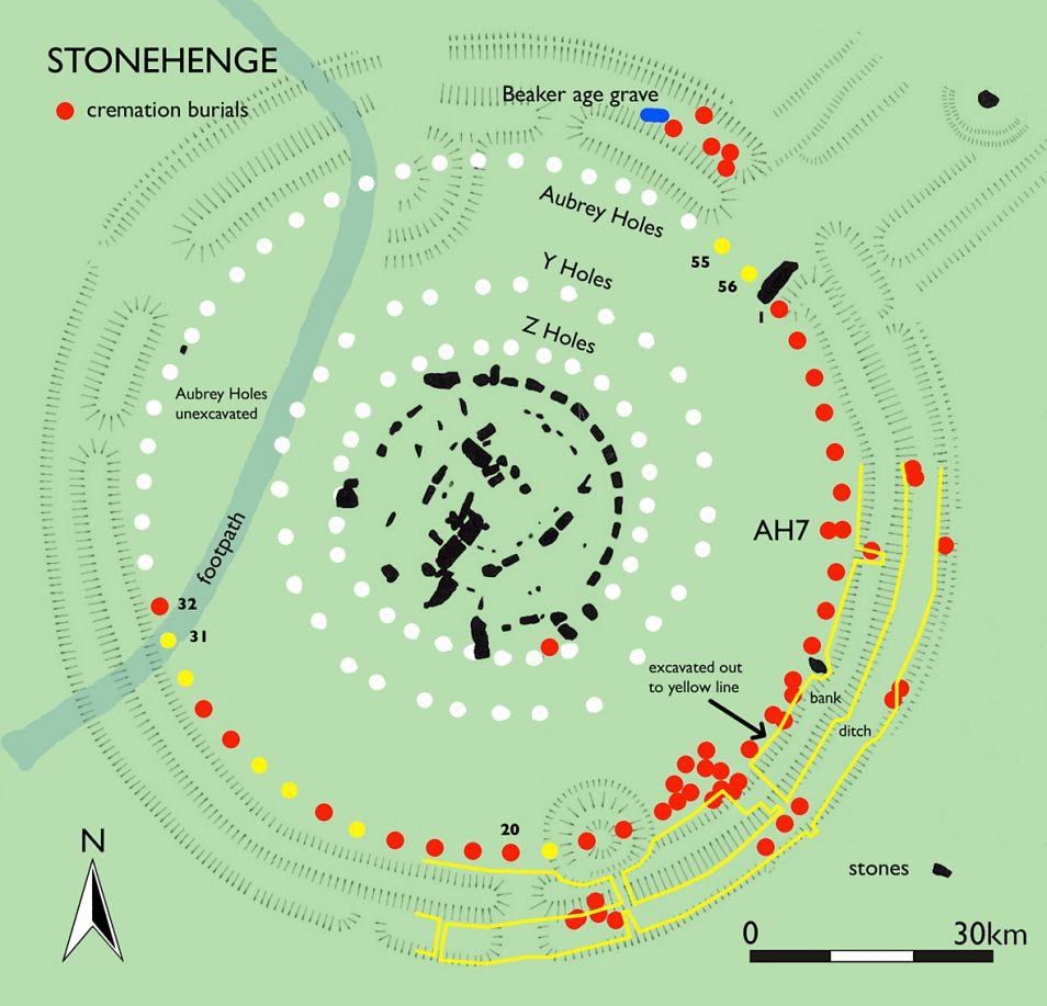 Op dit kaartje zie je onder meer Stonehenge (in het midden) en de Audrey Holes. Afbeelding: Mike Pitts.