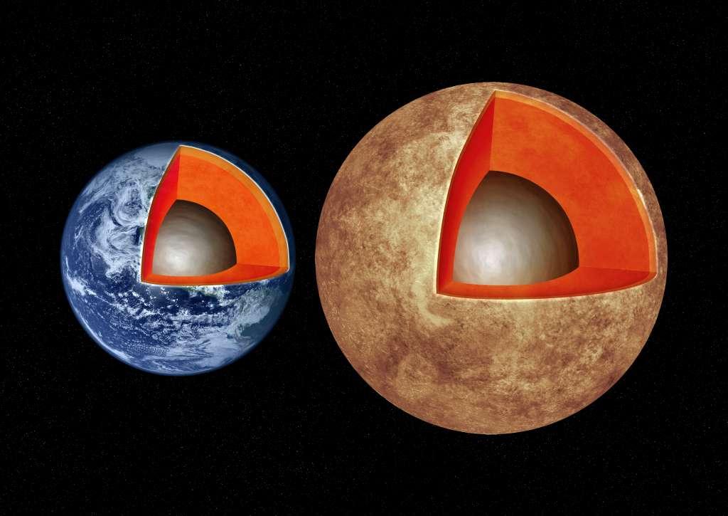 Links zie je de aarde. Rechts de exoplaneet Kepler-93b. Deze exoplaneet is 1,5 keer groter dan de aarde en vier keer zwaarder. Afbeelding: M. Weiss / CfA.