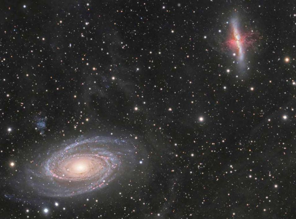 M81 en M82. Afbeelding: André van der Hoeven / Michael van Doorn / Neil Fleming.