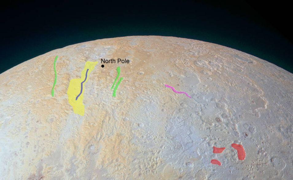 De noordpool van Pluto. New Horizons maakte de foto toen deze ongeveer 33.900 kilometer van Pluto verwijderd was. Afbeelding: NASA / JHUAPL / SwRI.