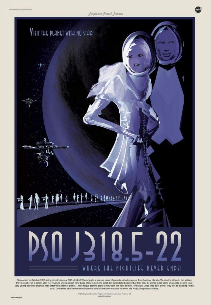 Houd jij wel van een wild nachtleven? Dan moet je zijn op PSO J318.5-22. Deze planeet moet het zonder ster stellen. Het is er dus altijd nacht. Afbeelding: NASA / JPL.