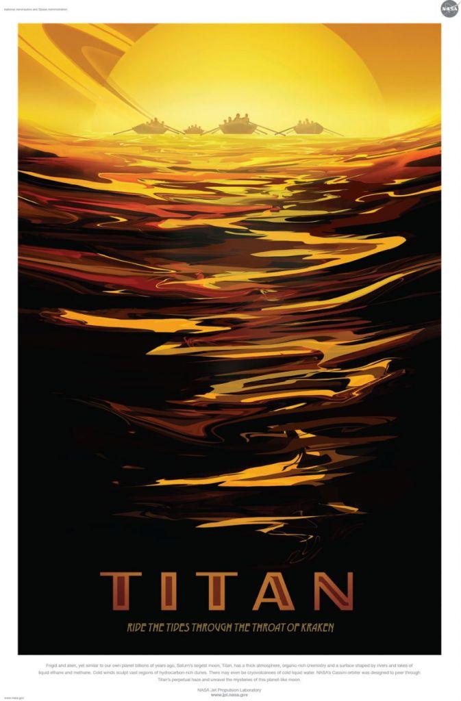 Het lijkt een heel exotische bestemming: het koude Titan. Maar ergens voelt het misschien ook wel weer vertrouwd. Miljarden jaren geleden had onze aarde veel van het huidige Titan weg. Ook heel gezellig: een vaartocht op de grote meren van de maan. Die zijn overigens niet gevuld met water, maar met vloeibaar ethaan en methaan. Afbeelding: NASA / JPL.