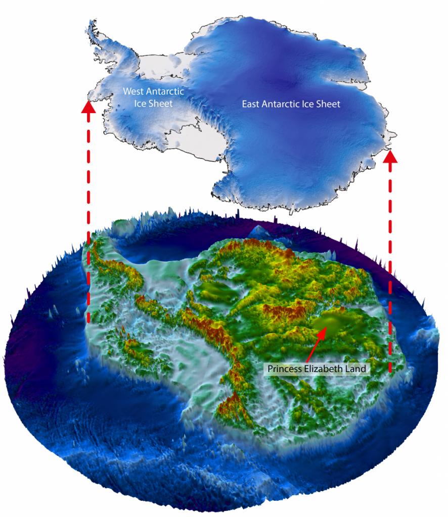 Wat bevindt zich onder het ijs van Antarctica? We krijgen er een steeds beter beeld van. Maar op deze afbeelding is goed te zien dat Princes Elizabeth Land (waar het vermoedelijke meer zich bevindt) nog onontgonnen gebied is. Afbeelding: Stewart Jamieson / Martin Siegert / ICECAP2.