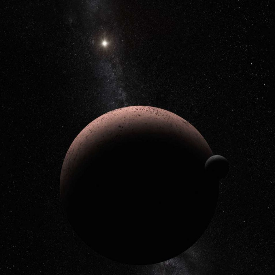 Een artistieke impressie van Makemake met haar maan MK 2. De afstand tussen dit duo en de zon is vijftig keer groter dan de afstand tussen de aarde en de zon.