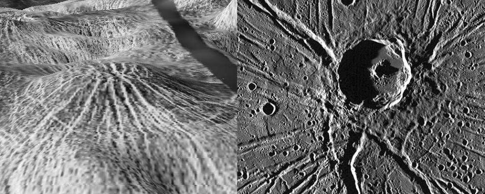 Links zie je de nova op Venus en rechts zie je iets soortgelijks op Mercurius. Afbeeldingen: NASA / JPL / USGS (Venus) en NASA / Johns Hopkins University Applied Physics Laboratory / Carnegie Institution of Washington (Mercurius).