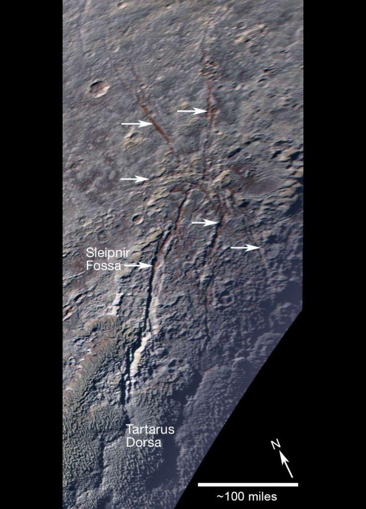 De 'spin' op Pluto. Afbeelding:  NASA / JHUAPL / SwRI.
