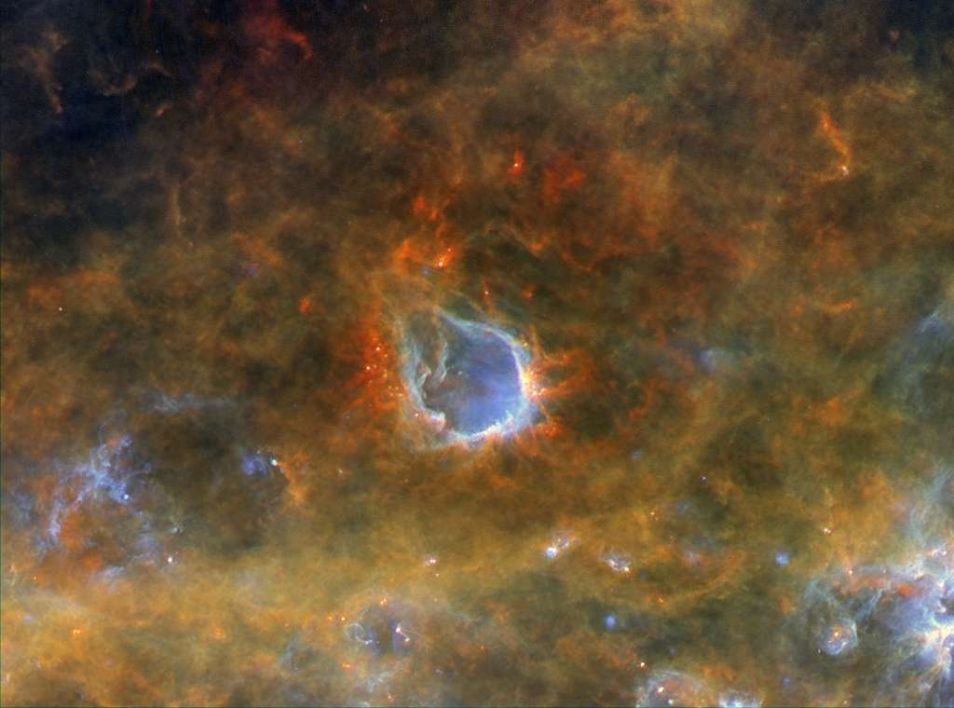 RCW 120: een emissienevel op ruim 4.000 lichtjaar van de aarde. De ster - niet zichtbaar op deze foto - heeft een bel om zich heen geblazen.