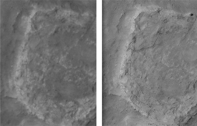Links de foto gemaakt door een Marsorbiter. Rechts de foto die het resultaat is van het opstapelen van meerdere foto's. Afbeelding: Planetary and Space Science - doi:10.1016/j.pss.2015.11.010.