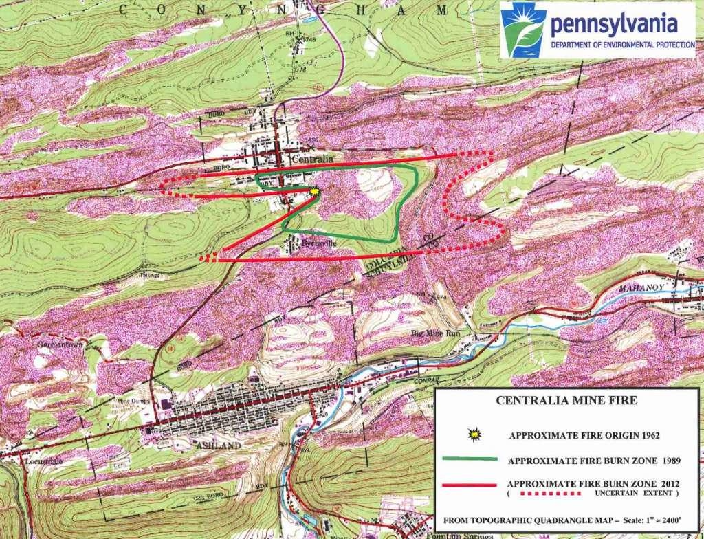 Dit kaartje laat niet alleen zien waar het vuur begonnen is, maar ook hoe het zich door de jaren heen verspreid heeft. Afbeelding: Pennsylvania Department of Environmental Protection.