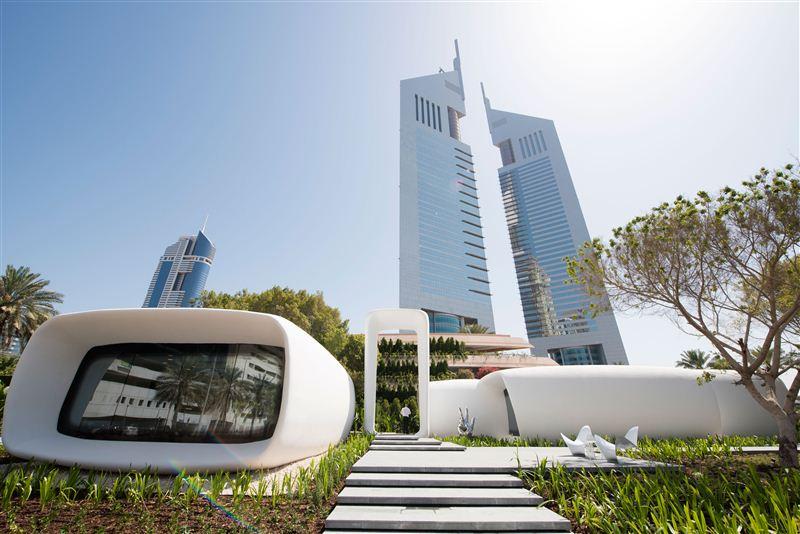 Het 3D-geprinte gebouw. Afbeelding: overheid van Dubai.