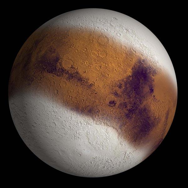 Was het oppervlak van Mars in het verleden voor een veel groter deel met ijs bedekt? Het lijkt er wel op! Afbeelding: NASA.