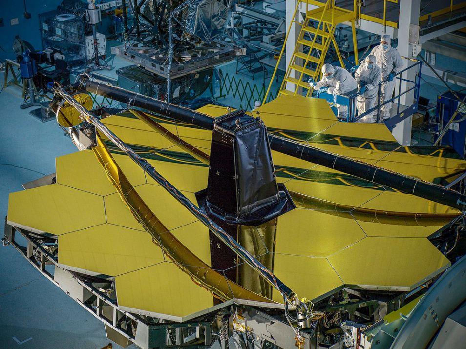Momenteel in aanbouw, de James Webb Telescoop. Afbeelding: NASA.