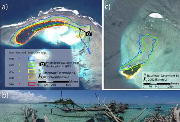 Hier zie je hoe de kustlijnen van twee eilanden zich terugtrekken. Het eiland rechts verdween in 2014 helemaal. Afbeelding: Environmental Research Letters.