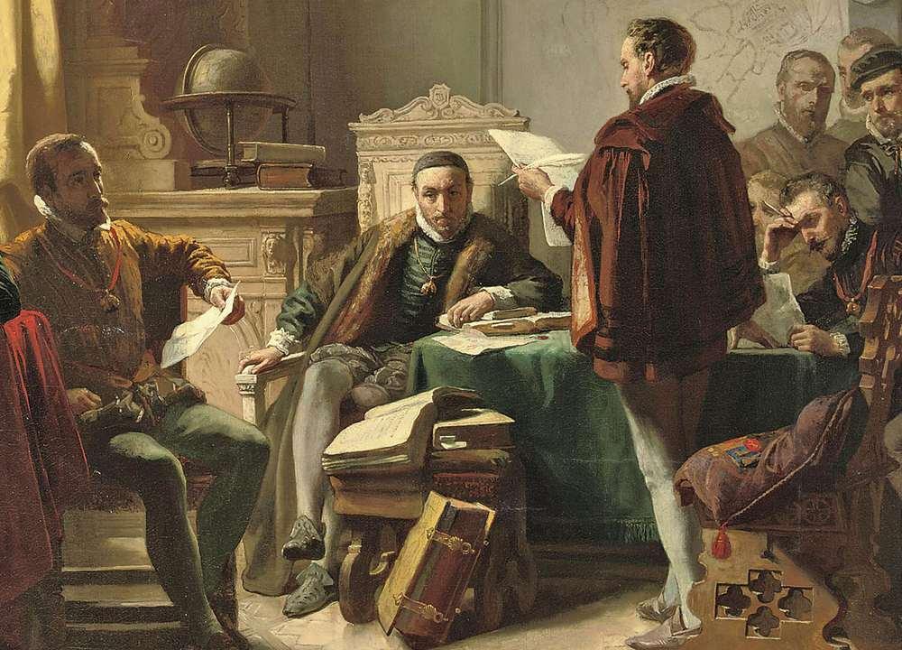 Deze schilder - Jacob Spoel - zat ernaast. Hij maakte een schilderij waarop te zien is dat Marnix van Sint-Aldegonde 'zijn' Wilhelmus aan Willem van Oranje laat horen.